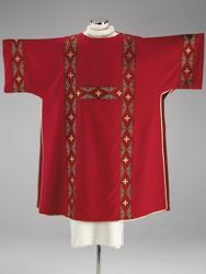 Picture of Deacon Liturgical Dalmatic Galloon Cross Rhombs Polyester Red Olive Green Violet Ivory White/Yellow Felisi 1911