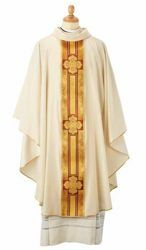 Picture of Priestly Liturgical Chasuble Quatrefoil Stole Wool blend Milk White Felisi 1911