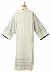 Picture of Liturgical Alb turned collar 5-turns Finto Gigliuccio embroidery Cotton blend priestly Tunic Felisi 1911 Ivory