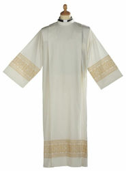 Picture of Liturgical Alb turned collar macramè lace Cross Cotton blend priestly Tunic Felisi 1911 Ivory/Gold