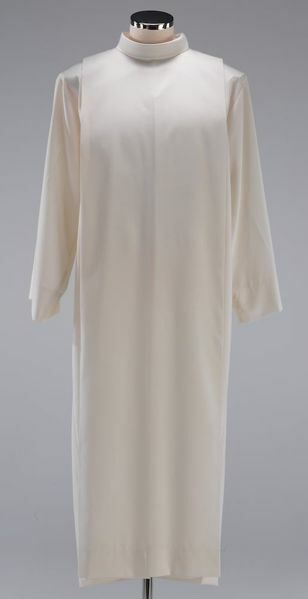 Picture of Liturgical Alb turned collar and folds Pure Cotton priestly Tunic Felisi 1911 White