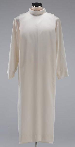 Imagen de Alba litúrgica cuello vuelto pliegues mezcla Algodón Túnica Sacerdotal Felisi 1911 Blanco
