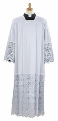 Picture of Liturgical Alb square collar macramè Cross Rhomb Cotton blend priestly Tunic Felisi 1911 White