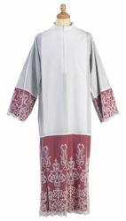 Imagen de Alba litúrgica tulle bordado sobre fondo rojo mezcla Algodón Túnica Sacerdotal Felisi 1911 Blanco