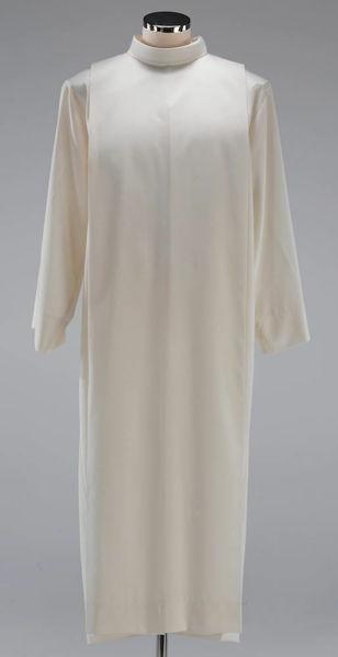 Imagen de Alba litúrgica cuello vuelto pliegues mezcla Algodón Túnica Sacerdotal Felisi 1911 Marfil Blanco