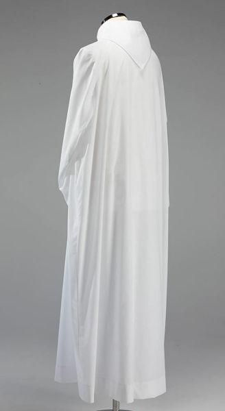 Immagine di Camice liturgico collo finto cappuccio raglan misto Cotone Tunica sacerdotale Alba Felisi 1911 Avorio Bianco