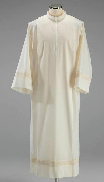 Imagen de Alba litúrgica cuello vuelto pliegues borde Antik mezcla Algodón Túnica Sacerdotal Felisi 1911 Marfil Blanco
