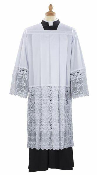 Picture of Liturgical Surplice macramè Cross Heart Cotton blend Felisi 1911 White
