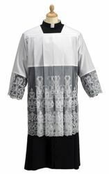Picture of Liturgical Surplice Roman Collar Embroidery Tulle  Cotton blend Felisi 1911 White