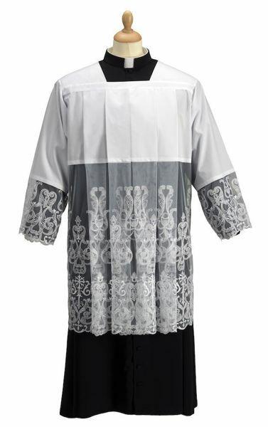 Immagine di Cotta liturgica collo romano tulle ricamato misto Cotone Felisi 1911 Bianco