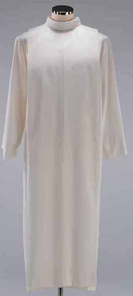 Immagine di Camice liturgico collo finto cappuccio piegoni misto Cotone Tunica sacerdotale Alba Felisi 1911 Bianco