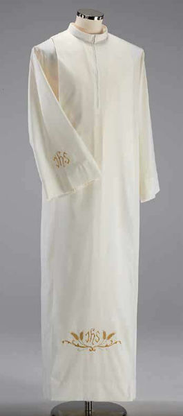 Picture of Liturgical Alb turned collar big fold JHS Eears of Corn Cotton blend priestly Tunic Felisi 1911 Ivory