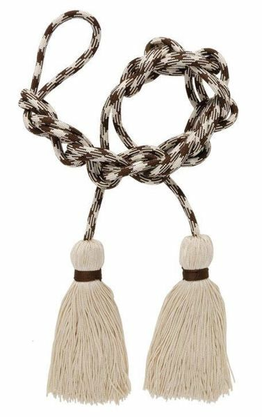 Picture of Bicolour Cincture 1 Tripolin Knot Tassel band Cotton blend Felisi 1911 Ivory/Brown Rosewood Brown