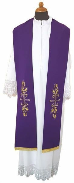 Picture of Priest Liturgical Stole Cross Corn Polyester Ivory Violet Red Green