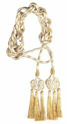 Picture of Celtic Knot Cincture gold 3 small Cord Tassels Viscose Felisi 1911 White