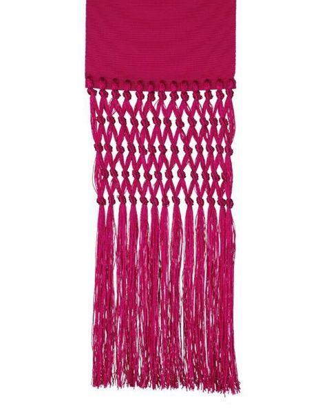 Picture of Ecclesiastical Fascia Sash for Cassock H. cm 13 (5,1 inch) Fringes Silk blend Felisi 1911 Silk Purple Black Band Cincture
