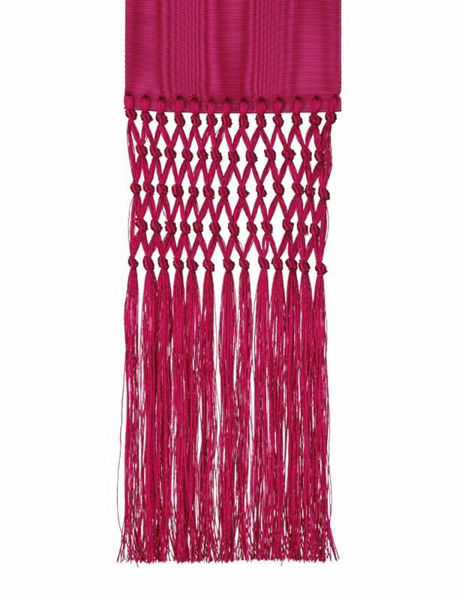 Picture of Ecclesiastical Fascia Sash for Cassock H. cm 13 (5,1 inch) Fringes Moire Watered Silk Blend Felisi 1911 Silk Purple Black Band Cincture