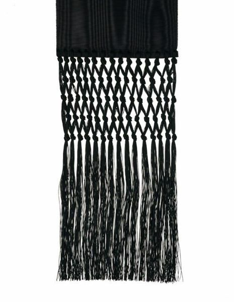 Picture of Ecclesiastical Fascia Sash for Cassock H. cm 15 (5,9 inch) Fringes Moire Watered Silk Blend Felisi 1911 Silk Purple Black Band Cincture