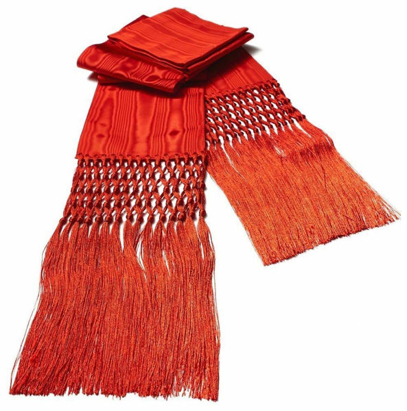Picture of Ecclesiastical Fascia Sash for Cassock H. cm 15 (5,9 inch) Fringes Pure Moire Watered Silk Felisi 1911 Silk Purple Black Cardinal Red Band Cincture