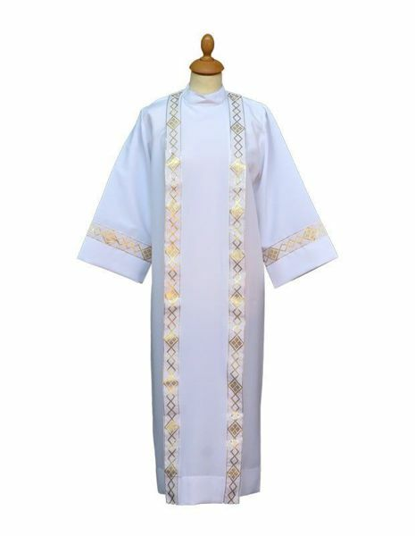 Picture of First Communion Alb folds galloon Polyester Felisi 1911 White  Ivory Liturgical Tunic Habit 00001cc3b