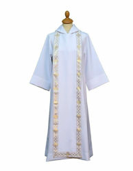 Picture of First Communion Alb hood Scapular Galloon Polyester Felisi 1911 White Ivory Liturgical Tunic Habit