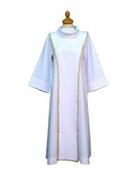 Picture of First Communion Alb turned collar Scapular gold trim Polyester Felisi 1911 White Ivory Tunic Habit