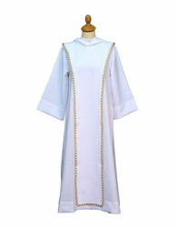 Picture of First Communion Alb hood Scapular gold trim Polyester Felisi 1911 White Ivory Liturgical Tunic Habit