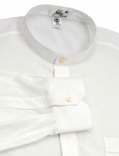 Imagen de Camisa Cleriman Clergy para Sotana Vestido Talar Cuello Coreano mezcla algodón Felisi 1911 Blanco