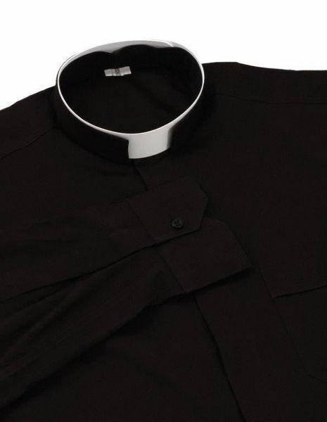 Immagine di Camicia Clergy Collo Romano Collare a fascia manica lunga puro Cotone Felisi 1911 Grigio Scuro Nero