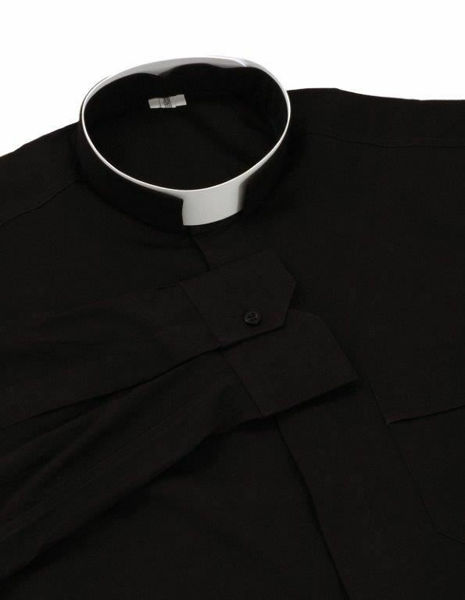 Picture of Clergy Shirt Full Banded Roman Collar long sleeve Cotton blend Felisi 1911 Dark Grey Black