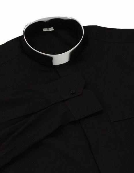 Immagine di Camicia Clergy Collo Romano Collare a fascia manica lunga in misto Cotone Felisi 1911 Grigio Scuro Nero