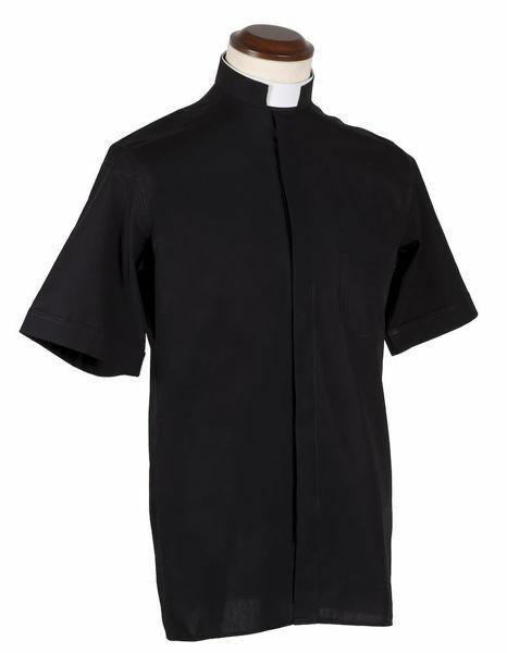 Immagine di Camicia Clergy Collo Romano Collare a fascia manica corta puro Cotone Felisi 1911 Grigio Scuro Nero
