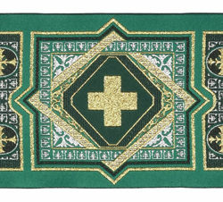 Picture of Galloon Tapestry H. cm 10 (3,9 inch) Pure Polyester Fabric Straw Yellow Red Violet Green Flag Trim Orphrey Banding for liturgical Vestments