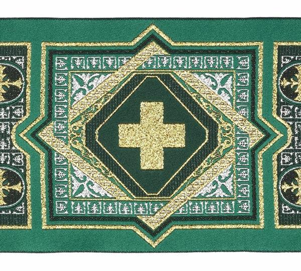 Imagen de Galón Tapiz H. cm 10 (3,9 inch) Tejido Poliéster puro Amarillo Pajizo Rojo Morado Verde Bandera para Vestiduras litúrgicas