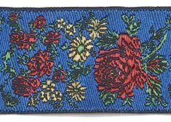Imagen de Galón Flores H. cm 2,5 (0,98 inch) Tejido Poliéster puro Rojo Celestial Morado Verde Bandera Marfil Negro Blanco Azul Amianto Azul Claro para Vestiduras litúrgicas