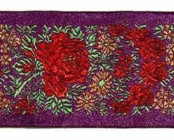 Picture of Galloon Lamé flowers H. cm 5 (2,0 inch) Pure Polyester Fabric Red Celestial Violet Green Flag Ivory Black White Asbestos Blue Light Blue Trim Orphrey Banding for liturgical Vestments