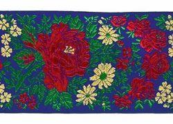 Imagen de Galón Flores Lamé H. cm 7,5 (2,95 inch) Tejido Poliéster puro Rojo Celestial Morado Verde Bandera Marfil Negro Blanco Azul Amianto Azul Claro para Vestiduras litúrgicas