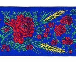 Picture of Galloon Eears of Corn H. cm 5 (2,0 inch) Pure Polyester Fabric Red Celestial Violet Green Flag Ivory Black White Asbestos Blue Light Blue Trim Orphrey Banding for liturgical Vestments