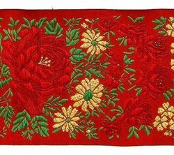 Picture of Galloon Lamé flowers H. cm 10 (3,9 inch) Pure Polyester Fabric Red Celestial Violet Green Flag Ivory Black White Asbestos Blue Trim Orphrey Banding for liturgical Vestments