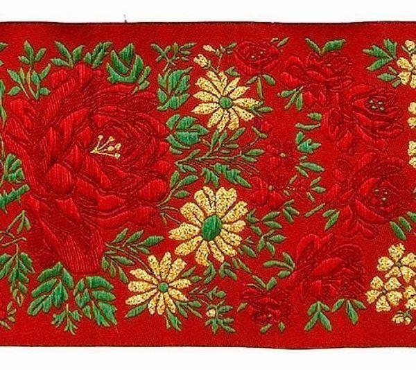 Immagine di Gallone nastro Fiori lamè H. cm 10 (3,9 inch) puro Poliestere Rosso Celeste Viola Verde Avorio Nero Bianco Blu Tessuto per Paramenti liturgici