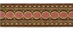 Picture of Galloon Liserè antique Gold Circle H. cm 3,5 (1,4 inch) Viscose and Polyester Fabric Brown Bordeaux Red Light Beige Light blue Ancient Rose Green Water Mustard Yellow Trim Orphrey Banding for liturgical Vestments