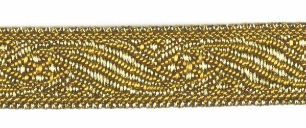 Imagen de Galón oro antiguo H. cm 1,2 (0,47 inch) Tejido Poliéster Acetato Marrón Amarillo para Vestiduras litúrgicas