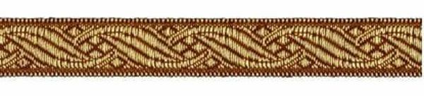 Picture of Galloon antique Gold for furniture H. cm 1,5 (0,6 inch) Polyester and Acetate Fabric Brown Yellow Trim Orphrey Banding for liturgical Vestments