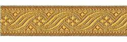 Immagine di Gallone oro antico per arredo H. cm 2,6 (1,0 inch) Poliestere Acetato Marrone Giallo Zecchino Tessuto per Paramenti liturgici
