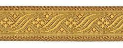 Picture of Galloon antique Gold for furniture H. cm 3 (1,2 inch) Polyester and Acetate Fabric Brown Yellow Trim Orphrey Banding for liturgical Vestments