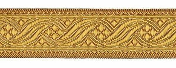 Immagine di Gallone oro antico per arredo H. cm 3 (1,2 inch) Poliestere Acetato Marrone Giallo Zecchino Tessuto per Paramenti liturgici