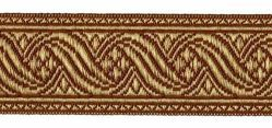 Picture of Galloon antique Gold for furniture H. cm 4 (1,6 inch) Polyester and Acetate Fabric Brown Yellow Trim Orphrey Banding for liturgical Vestments