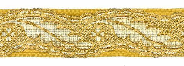 Imagen de Galón Columna H. cm 3 (1,2 inch) Tejido en hilo metálico alto contenido Oro para Vestiduras litúrgicas