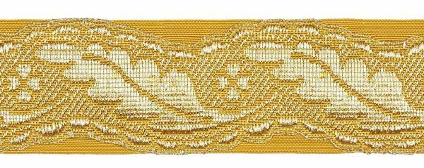 Picture of Galloon Column H. cm 4 (1,6 inch) Metallic thread Fabric high content of Gold Trim Orphrey Banding for liturgical Vestments