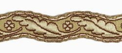 Picture of Galloon Column and Four-leaf clover H. cm 3 (1,2 inch) Metallic thread Fabric high content of Gold Bordeaux Trim Orphrey Banding for liturgical Vestments